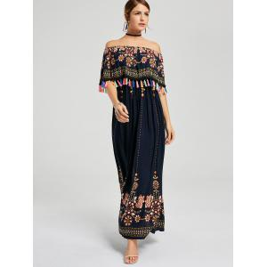 Off Shoulder Floral Summer Maxi Tassel Dress -