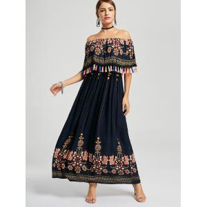 Tassel Off The Shoulder Maxi Boho Dress - Bleu Violet M