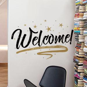 Welcome Letter Shop Door Removable Wall Sticker - BLACK 57*38CM