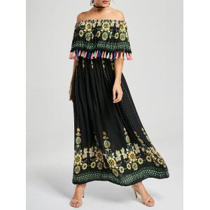Tassel Off The Shoulder Maxi Boho Dress - Black - S