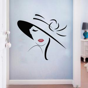 Girl Decorative Wall Art Sticker For Bedroom - BLACK 57*54CM