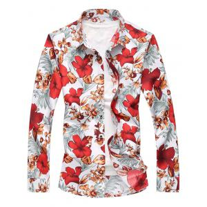 Flower Print Button Up Long Sleeve Shirt