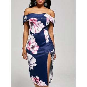 Floral Slit Bodycon Off The Shoulder Dress