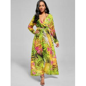 Chiffon V Neck Maxi Dress with Sleeves - GREEN M