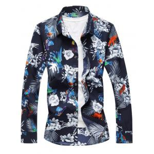 Animal Flower Print Long Sleeve Shirt