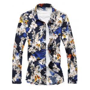 Bird Floral Print Long Sleeve Shirt