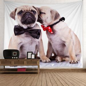 Home Decor Puppy Bowknot Print Wall Hanging Tapestry - Gray - W79 Inch * L59 Inch