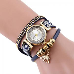 Rhinestone Number Elephant Strand Bracelet Watch