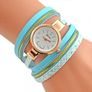Faux Leather Strap Analog Bracelet Watch - Azure