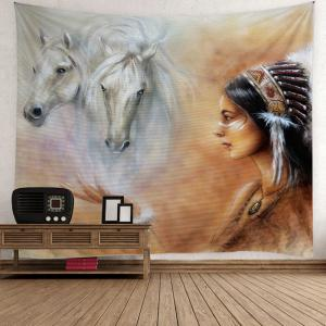 Horse African Girl Print Wall Hanging Tapestry