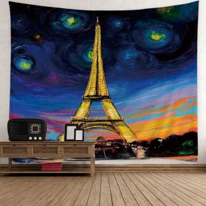 Oil Painting Eiffel Tower Wall Hanging Tapestry - Colorful - W59 Inch * L51 Inch