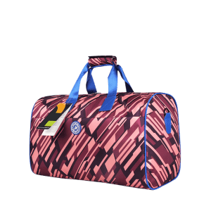 Nylon Print Gym Bag - PURPLISH RED