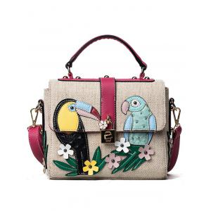 Parrot and Flower Patches Weave Crossbody Bag - Red - 41