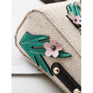 Parrot and Flower Patches Weave Crossbody Bag - WHITE