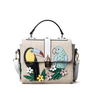 Parrot and Flower Patches Weave Crossbody Bag