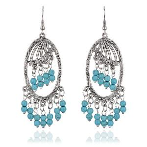 Faux Turquoise Chandelier Beaded Tassel Earrings