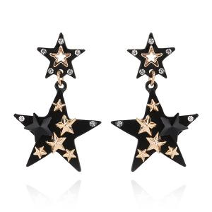 Rhinestone Double Star Drop Earrings