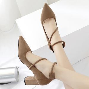 Point Toe Suede Block Heel Pumps - APRICOT 39
