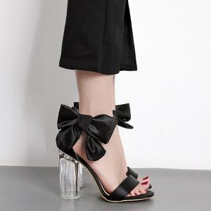 Bow Clear Chunky Heel Sandals - Black - 40