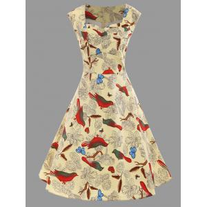 Bird Floral Print Plus Size A Line Dress