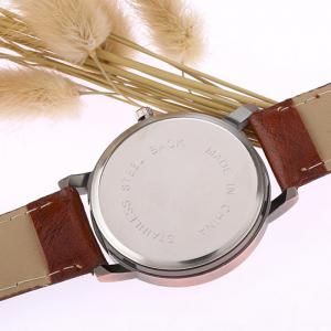 Faux Leather Strap World Map Face Watch - BROWN