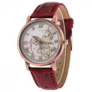 Faux Leather Strap World Map Face Watch - Wine Red
