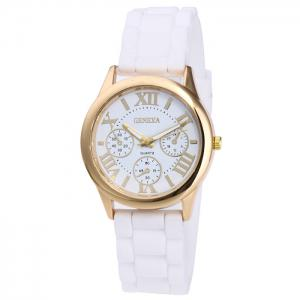 Roman Numeral Silicone Strap Quartz Watch - White