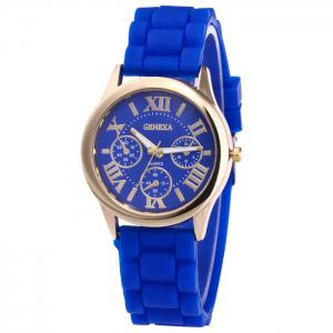 Roman Numeral Silicone Strap Quartz Watch - Royal