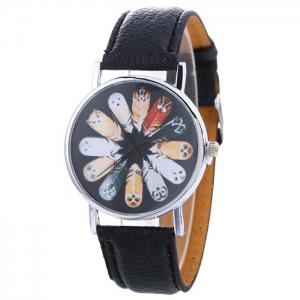 Cartoon Feather Face Faux Leather Strap Watch