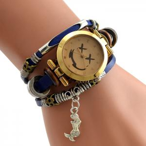Faux Leather Strap Mermaid Smile Bracelet Watch