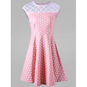Polka Dot Lace Trim Skater Dress