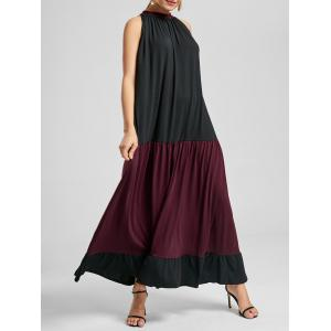 Two Tone Sleeveless Maxi Casual Dress - Black And Red - Xl