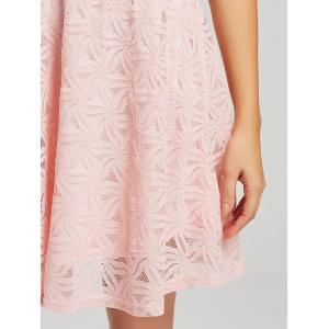 Lace Sleeveless Mini Cocktail Skater Dress - PINK S
