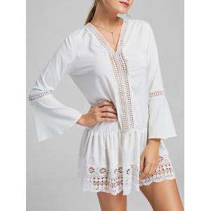 Long Sleeve Lace Trim Tunic Skater Dress - White - Xl