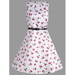 Cherry Print Belted Pin Up Dress - White - 2xl