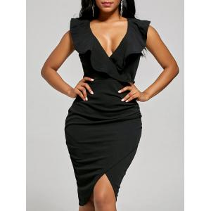 Plunge Ruffle Bodycon Cocktail Dress - Black - L