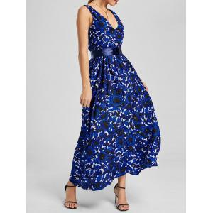 Rose Print Backless Maxi Dress - Deep Blue - M