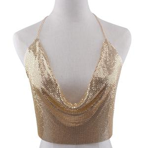 Metallic Shimmer Halter Bra - Golden