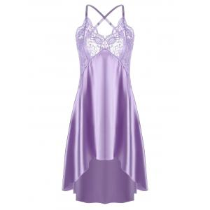 Asymmetric Crossback Lace Panel Satin Slip - Light Purple - Xl