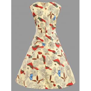 Animal Bird Floral Print Plus Size A Line Dress -