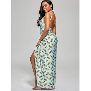 Pineapple Cover Up Wrap Dress - LIGHT BLUE XL