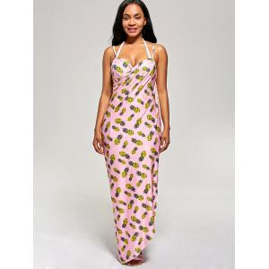 Pineapple Cover Up Wrap Dress - PINK L