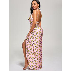 Pineapple Cover Up Wrap Dress - PINK M