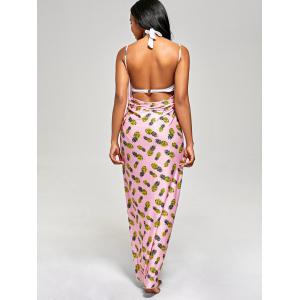Pineapple Cover Up Wrap Dress - PINK S