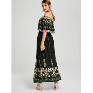 Tassel Off The Shoulder Maxi Boho Dress - Noir M