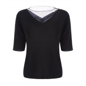 Voile Panel Stripe Knit Plus Size  Tee - Black - 4xl