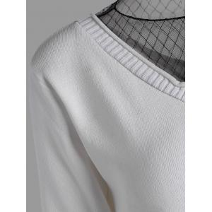 Voile Panel Stripe Knit Plus Size  Tee - WHITE 4XL
