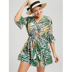 Tropical Print V Neck Surplice Romper - MULTI S