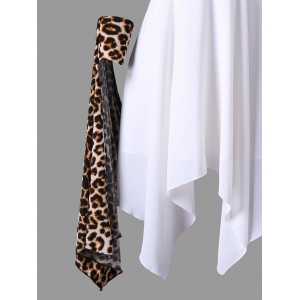 Cuffed Leopard Cape Chiffon Handkerchief Dress -