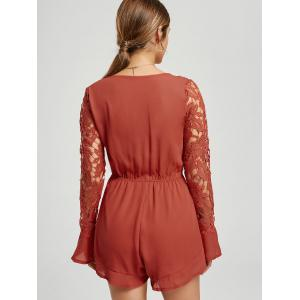 Plunge Chiffon manches longues Romper -